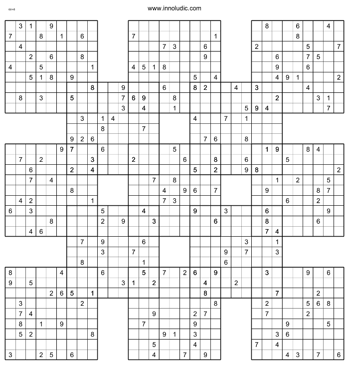 picture regarding Printable Samuri Sudoku identified as Samurai Sudoku
