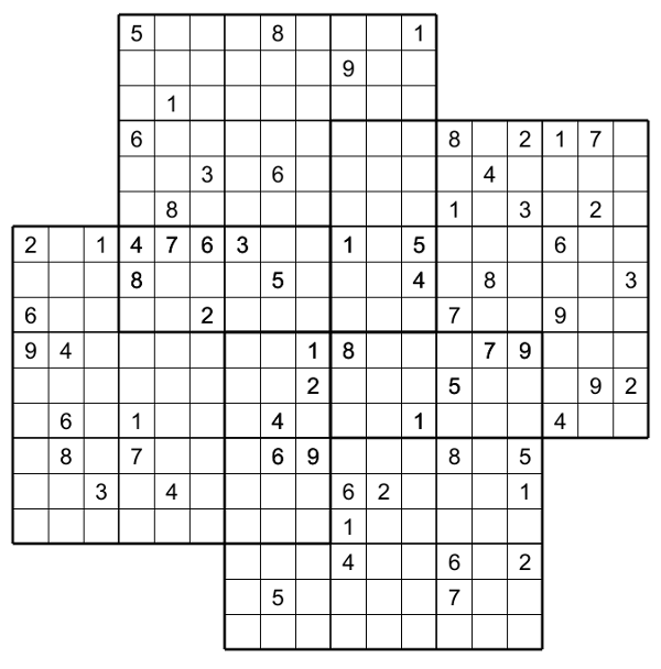 This is a picture of Challenger Multi Sudoku Printable